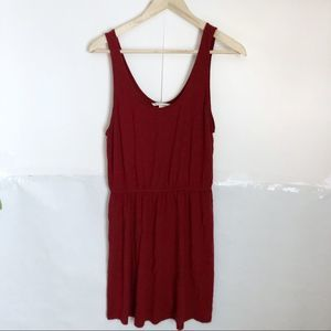 🌻HM Red Cinched Waist Scoop Neck Sleeveless Dress